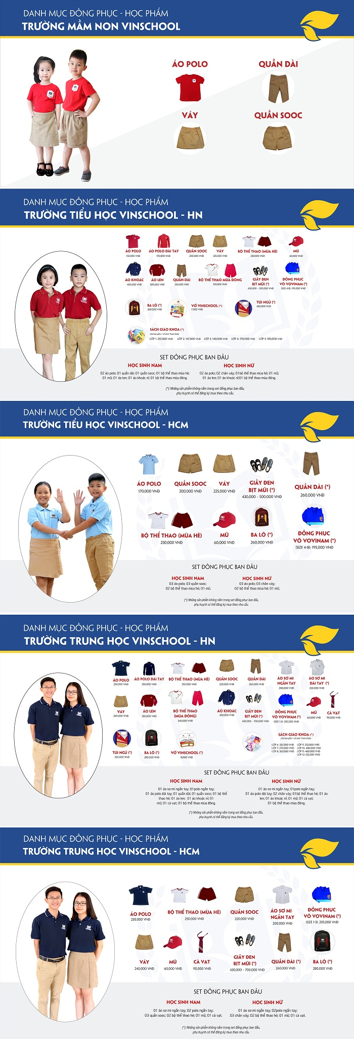Các mẫu áo đồng phục trường Vinschool