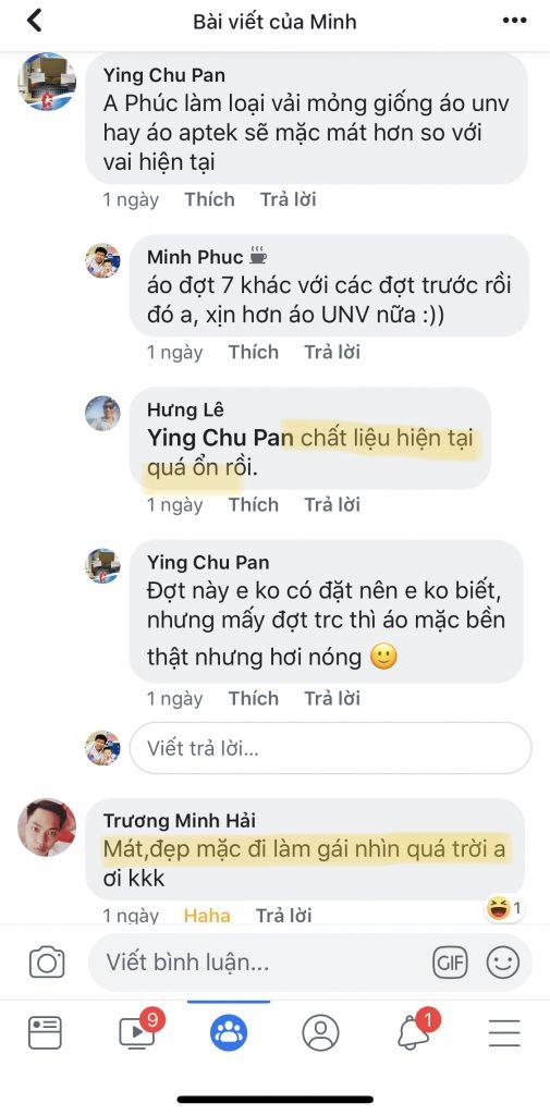 nhan xet khach hang ve ao thun dong phuc vnxk
